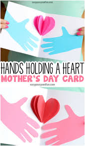 Hands Holding A Heart Mothers Day Card Paper Craft For Kids