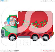100 Delivery Truck Clipart Of A Cartoon Christmas Santa Claus Driving A