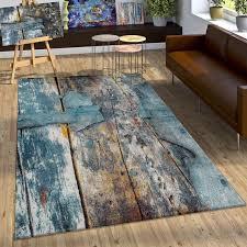 paco home teppich natura 850 rechteckig 18 mm höhe kurzflor mit kunstvollem holzplatten design wohnzimmer