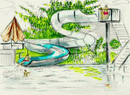 Swimming Pool Water Slide Coloring Pencil Drawing Stock Photo