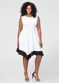 colorblock hanky hem dress plus size dresses ashley stewart 010