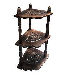 Evergreen Wooden Handicraft Hand Made Corner Stand With Shelves