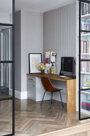 Home Office With Parquet Wood Flooring