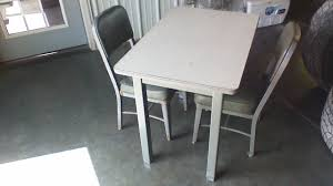Industrial 2 Top Dining Table Retired US Army Property With Two Side Chairs