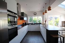 Countertops Backsplash Elegant Perfect Kitchen Furniture Black Wood Floor U Shape Modern White Cabinet