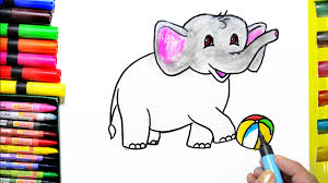 Draw Color Paint Cute Elephant Coloring Page And Learn Colors For Kids