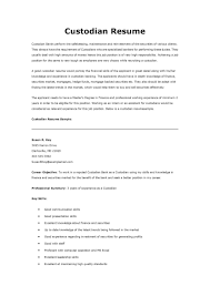 Resume Examples For Janitorial Position Custodian Sample Ready Print E 9 A 1 B 5 D 2 Part With