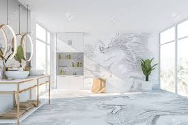 100 Marble Walls Interior Of Luxury Bathroom With White Marble Walls And Floor