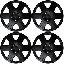4 Pc New Universal Hubcaps Black Matte 15