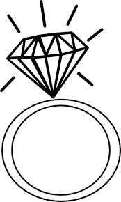 Wedding ring engagement ring clipart black and white free
