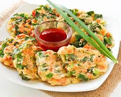 Soft Garlicky Chinese Savory Pancakes With Chives Carrots And Shrimps For An Afternoon