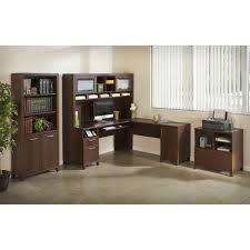 Wayfair Desks With Hutch by Bush Furniture Cabot 60 In L Shaped Desk With Hutch Harvest