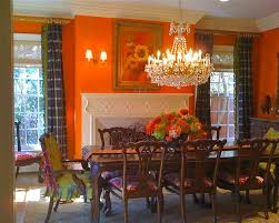 Orange Paint Colors For Dining Rooms With Fireplace And Ceiling Lighting