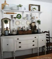Awesome Dining Room Shelving Idea With Antique Buffet Floating Shelves In