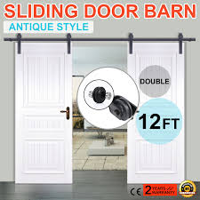 6 /6.6 /10 /12FT Rustic Black Double Sliding Barn Door Hardware ... Vintage Sliding Barn Door Kit Hdware Kitchen Ideas Doors Cabinet Hcom Rustic 6 Interior Set Shop At Lowescom With Also The Correct Way To Install Small Mini Best 25 Barn Door Hdware Ideas On Pinterest Diy Traditional John Robinson House Decor Amazoncom Yaheetech 12 Ft Double Antique Country Style Black