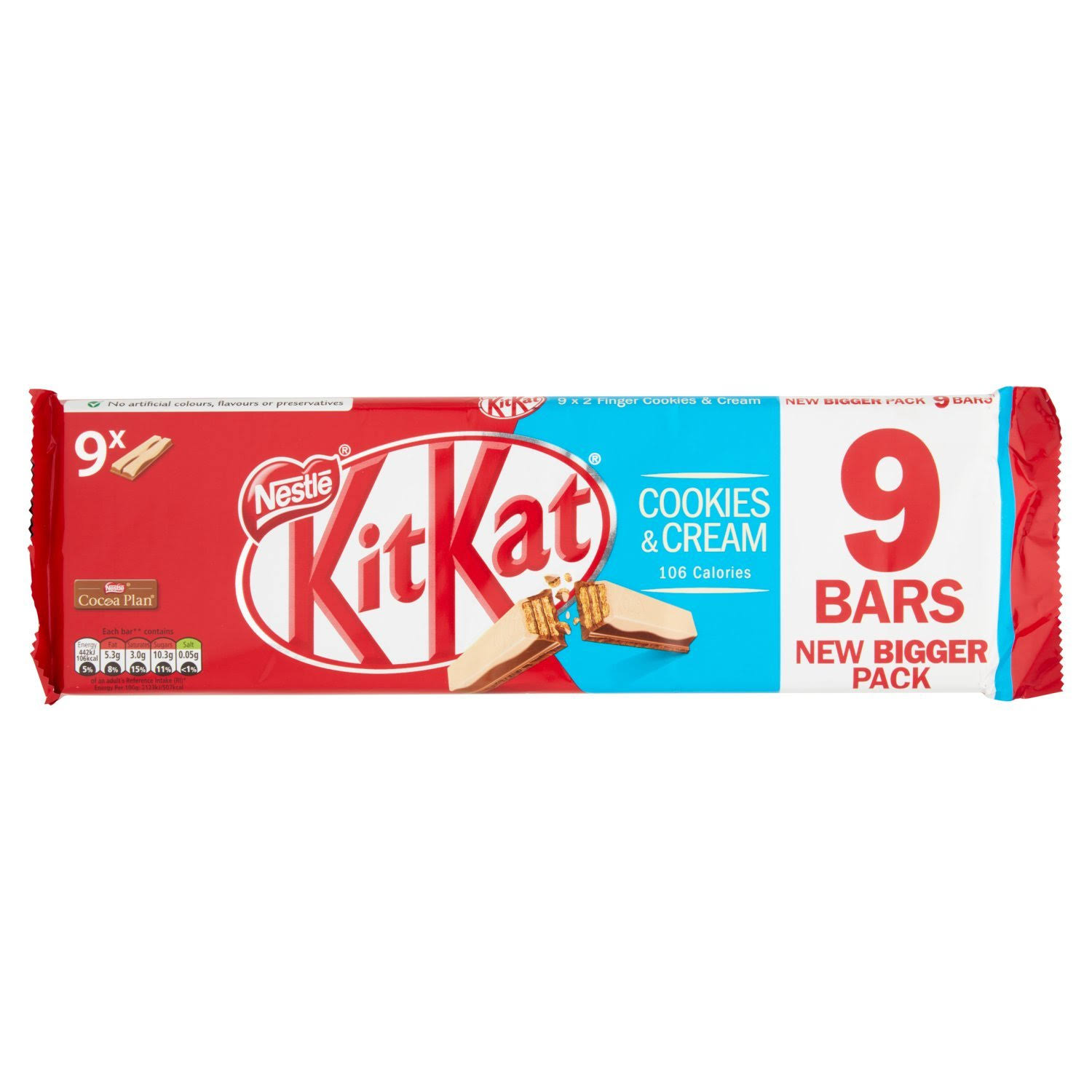 Kit Kat 2 Finger Chocolate Biscuit Bar - Cookies and Cream, 9pcs