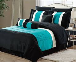 Amazon 11 Piece Oversized Teal Blue & Black forter Set