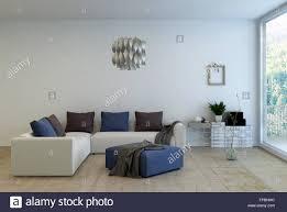 wohnzimmer innenraum dekoriert mit einfacher ausstattung l