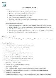 Barista Resume Template Example From Job Descriptions Description