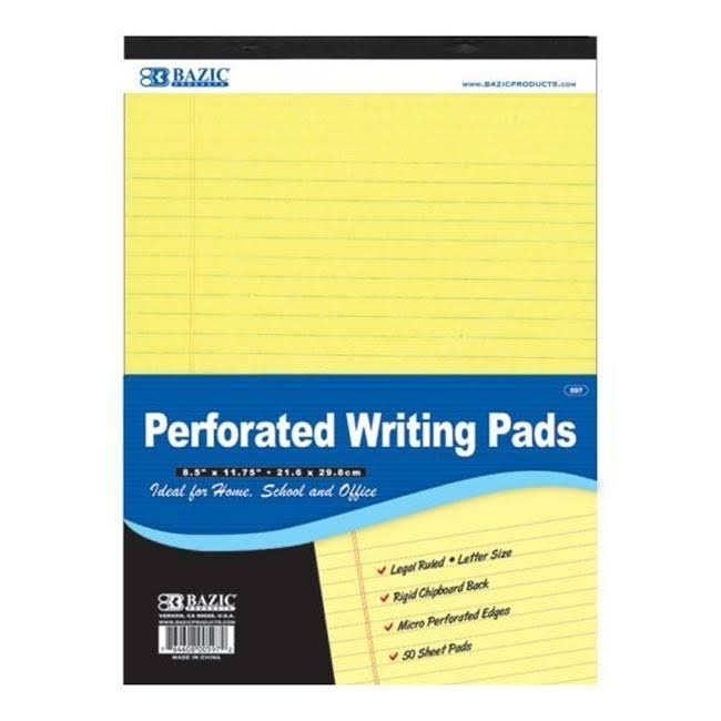 "Bazic Canary Perforated Writing Pad - 8.5"" X 11.75"""