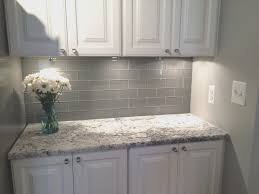 creative white kitchen grey backsplash home design