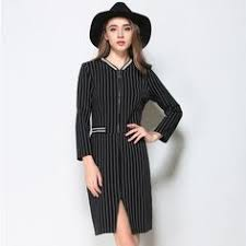 2016 New Autumn And Winter Leisure Quality Black White Striped V Neck Long Sleeve Slim Slit Dresses