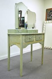 Celluloid Vanity Dresser Set by Rare Art Deco Green Celluloid Covered Vanity With Tri Fold Mirror