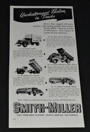 RARE VTG 1952 Smith Miller Toy Trucks FIRE DUMP MOBILGAS Etc ...