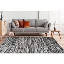 vintage streifen teppich modern wohnzimmer teppiche grau anthrazit 80cm x 150cm