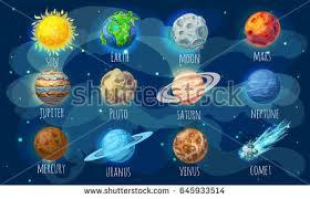 Colorful Space Elements Set Sun et Stock Vector