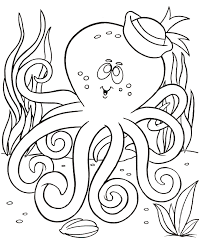 Octopus Coloring Pages And Seaweed Underwater