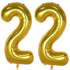100 Sweet 22 Amazoncom 40inch Gold Foil Helium Jumbo Digital Number Balloons