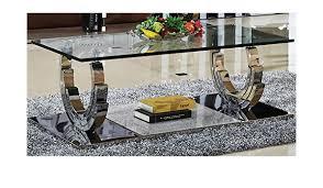 azurit couchtisch edelstahl wohnzimmertisch glas hochglanz