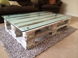 Recycled Pallet Coffee Table With A Fish Tank Glass Top Painted White