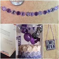 Purple Black White Birthday Decorations Zebra First Birthday Girl
