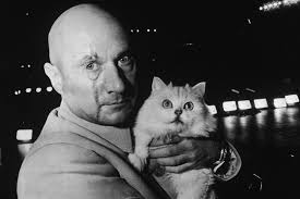 Donald Pleasence Halloween 5 by Donald Pleasence As Ernst Stavro Blofeld Poses With His Feline
