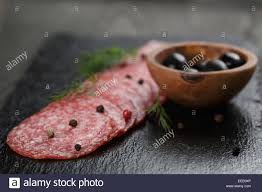 Salami Slices Slate Board Rustic Style Food