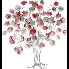 gilde wanddekoobjekt wandrelief tree rottöne silberfarben wanddeko höhe 80 cm aus metall baum form wohnzimmer