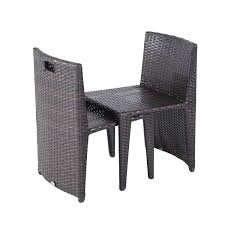 Outsunny Patio Furniture Cushions by Outsunny 3pcs Outdoor Wicker Rattan Bistro Set Patio Chair And