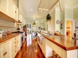 Modern White Country Galley Kitchen Layout