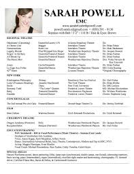 Dance Resume Template For College Templates Examples