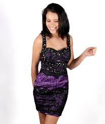 purple and black lace low back cocktail party dress alila
