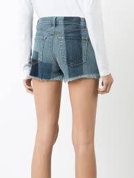 j brand mid rise skinny j brand checked denim shorts zenith blue
