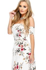 white floral off the shoulder short sleeve casual maxi dress