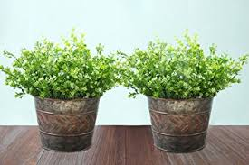 2 Pack Flower Pots Metal Galvanized Christmas Decor Planters 9 Inch Indoor And Outdoor