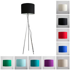 large modern tripod floor standard l lounge light fabric drum