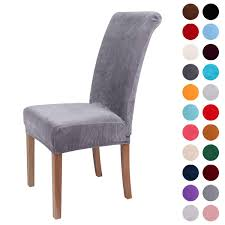 Colorxy Velvet Spandex Fabric Stretch Dining Room Chair Slipcovers Home  Decor Set Of 4, Silver Grey Leanking Knit Spandex Fabric Stretch Removable Washable Ding Room Chair Slipcover Home Decor Set Of 4 Grey Leaf Pcs Turquoize Slipcovers Jacquard Kitchen Parson Protector Cover Seat For Hotelding Using Chalk Paint To Your Couch Or Wing Back Vinyl Covers Plastic For Chairs Parsons Best Rated In Helpful Customer Reviews Argstar Pack Beige Deconovo Modern 2 How To Sew A The Ikea Henriksdal Bar Scarce Amazon Com Xflyee Redoubtable With Arms Magnificent
