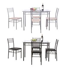 5PC Dining Table Set Modern Kitchen Room Furniture With 4 Chairs Black Silver