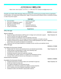 marvellous inspiration ideas sle office manager resume 15 front