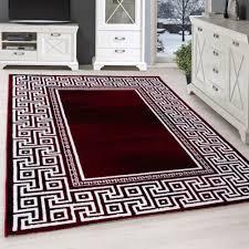 moderner design kurzflortepppich wohnzimmer teppich mäander